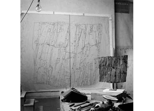 Studio di Consagra, Roma, 1962. Foto Ugo Mulas © Ugo Mulas Heirs. All rights reserved.