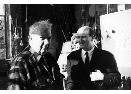 Consagra with Alexander Calder in hisRoxbury Studio in 1962.
